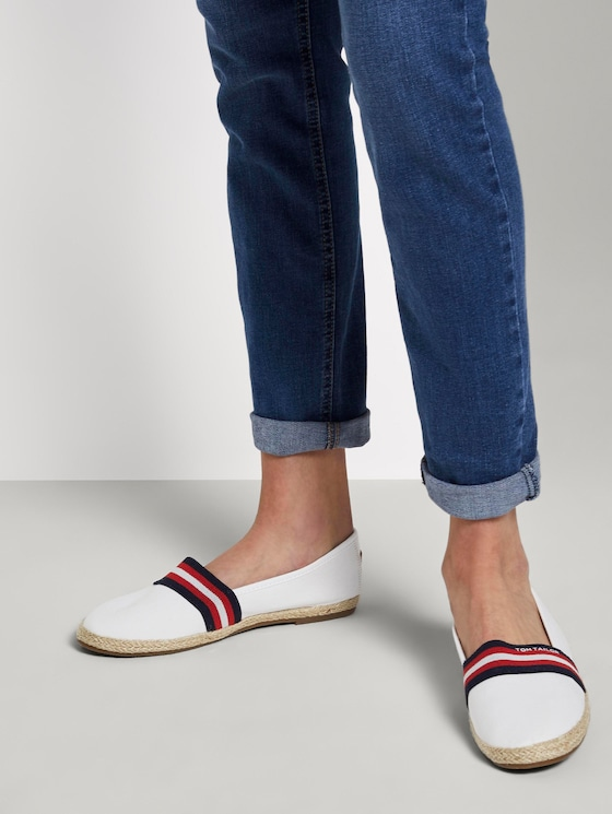 Fabric slippers with striped details - Women - white - 5 - TOM TAILOR