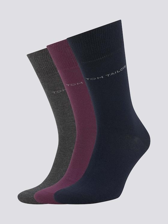 Basic Socken im Dreierpack - Männer - bordeaux - 7 - TOM TAILOR