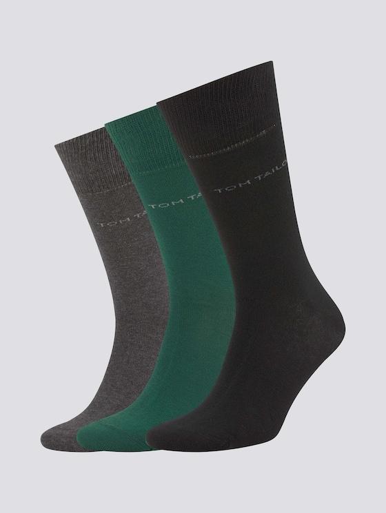 Basic Socken im Dreierpack - Männer - dark green - 7 - TOM TAILOR