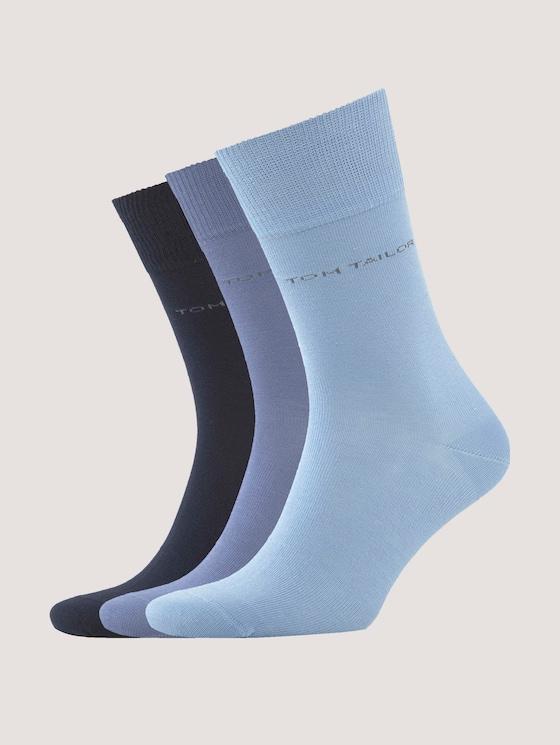 Plain-coloured socks in a pack of three - Men - jeans blue - 7 - TOM TAILOR