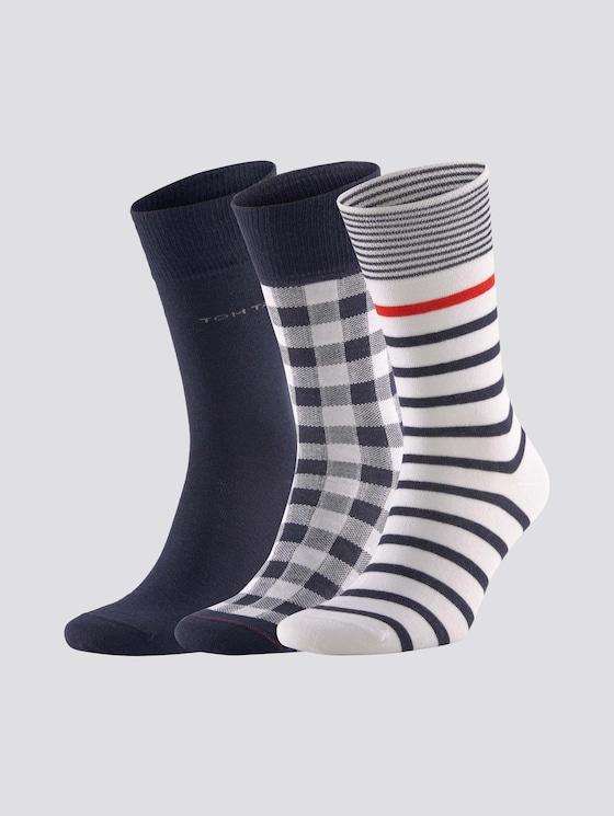 Socken im Dreierpack - Männer - blue - 7 - TOM TAILOR