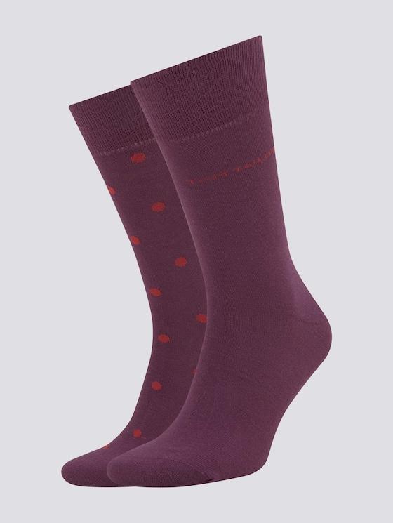 Gepunktete Socken im Doppelpack - Männer - bordeaux - 7 - TOM TAILOR