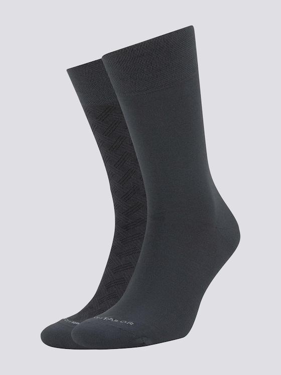 Socken mit Muster im Doppelpack - Männer - anthracite melange - 7 - TOM TAILOR