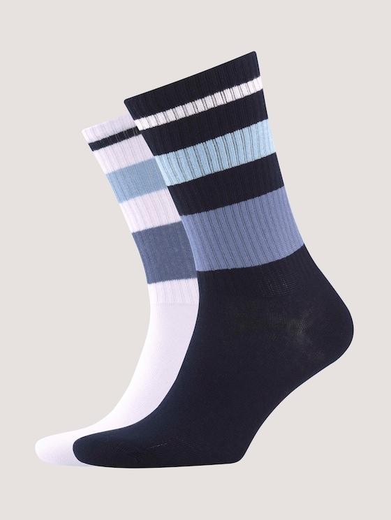 Sports socks in modern colours with stripes - Men - dark navy - 7 - TOM TAILOR