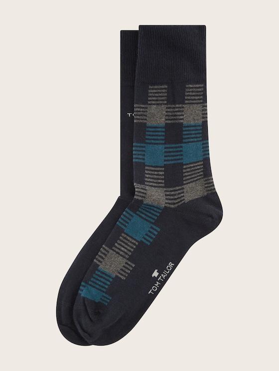 Three-pack with basic socks in winter colours - Men - dark navy - 7 - TOM TAILOR