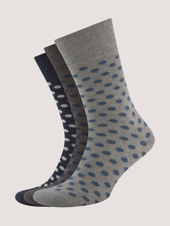 Three-pack with basic socks in winter colours - Men - medium grey - 7 - TOM TAILOR