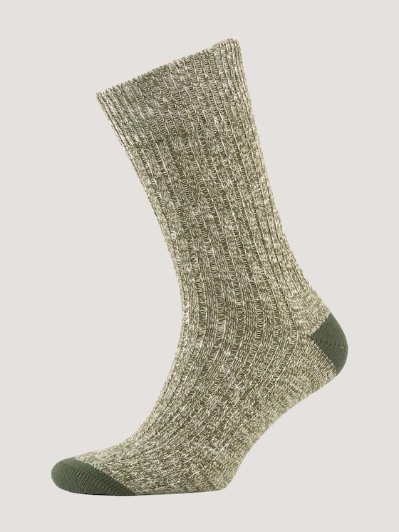 Textured socks in a mouline design - Men - oliv - 7 - TOM TAILOR