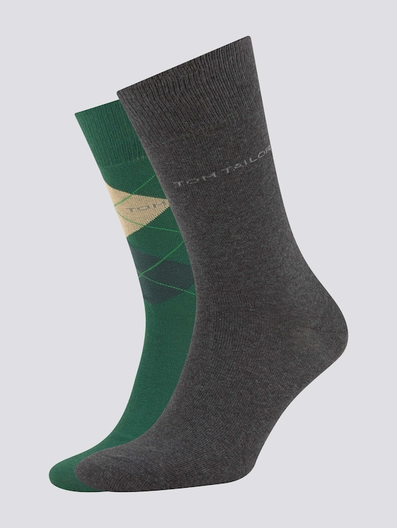 TT men's basic socks 2pcs - Men - dark green - 7 - TOM TAILOR