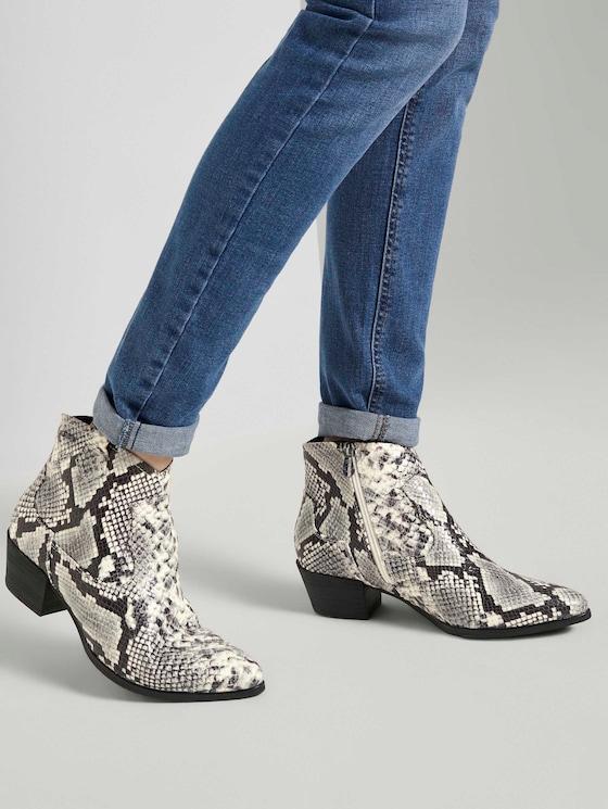 Schlangen Ankle Boots - Frauen - offwhite - 5 - TOM TAILOR
