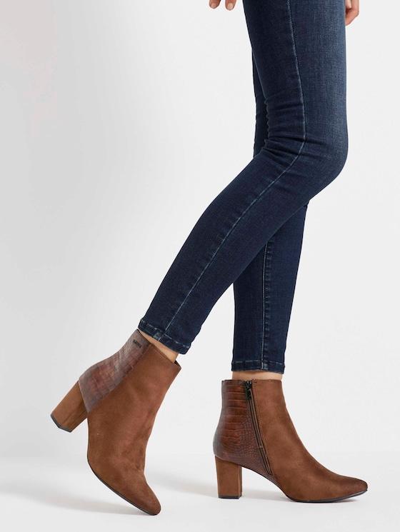 Ankle Boots mit Lederprägung - Frauen - brown - 5 - TOM TAILOR