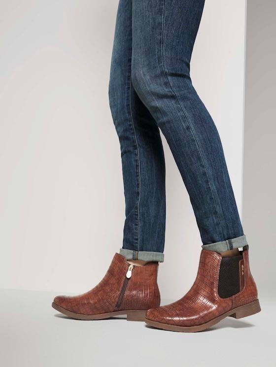 Chelsea Boots in Kroko-Optik - Frauen - brown - 5 - TOM TAILOR