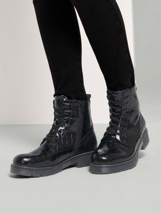 Kroko Schnürboots - Frauen - black - 5 - TOM TAILOR