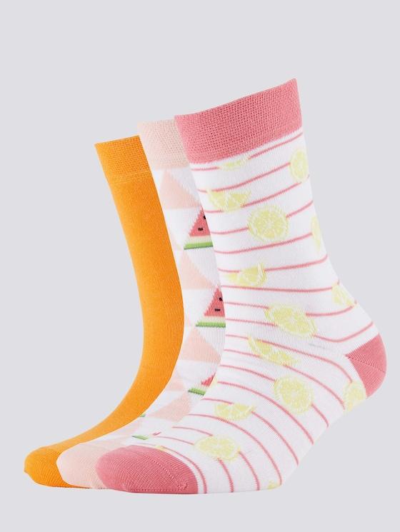 Gemusterte Socken im Dreierpack - unisex - powder rose - 7 - TOM TAILOR