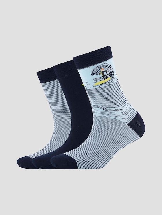 Gemusterte Socken im Dreierpack - unisex - dark navy - 7 - TOM TAILOR