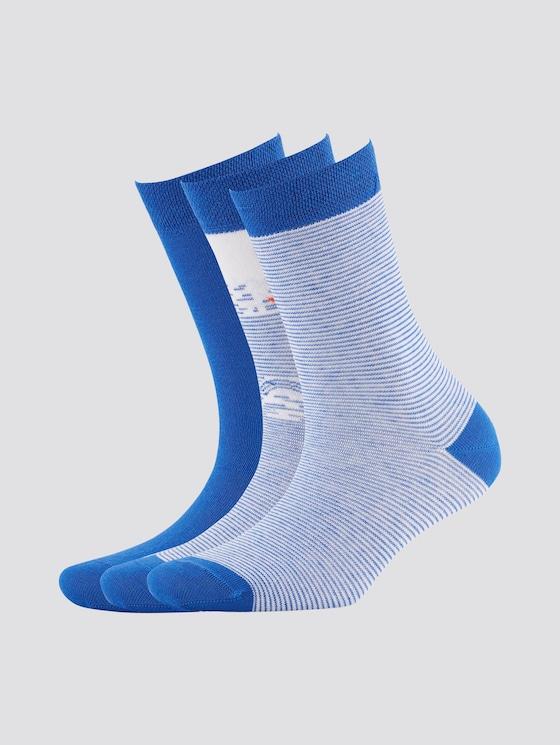Gemusterte Socken im Dreierpack - unisex - ultramarin - 7 - TOM TAILOR