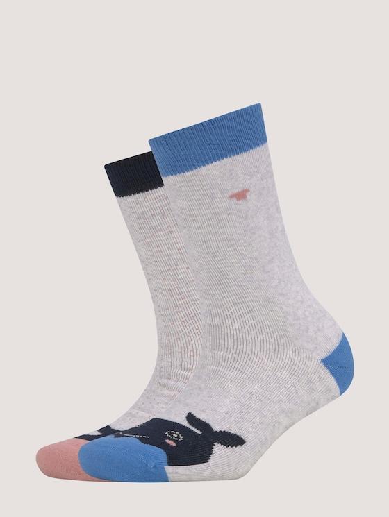 Stopper Socken im Zweierpack - unisex - light grey melange - 7 - TOM TAILOR