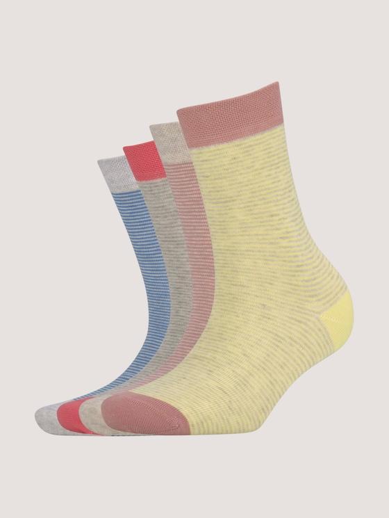 Gestreifte Socken im Viererpack - unisex - faded rose - 7 - TOM TAILOR