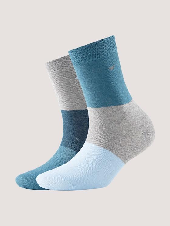 Socks with colour blocking - unisex - dark petrol - 7 - TOM TAILOR