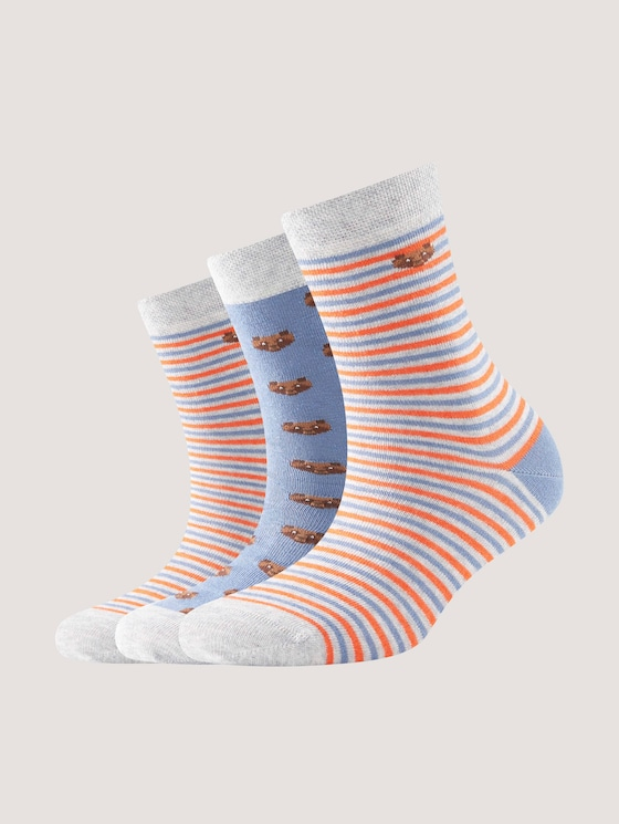 Three-pack with socks featuring bear designs - unisex - jeans blue - 7 - TOM TAILOR