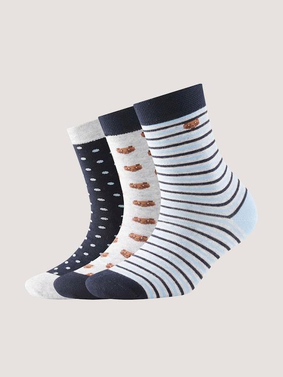 Socken im Dreierpack mit Motivprint - unisex - dark navy - 7 - TOM TAILOR