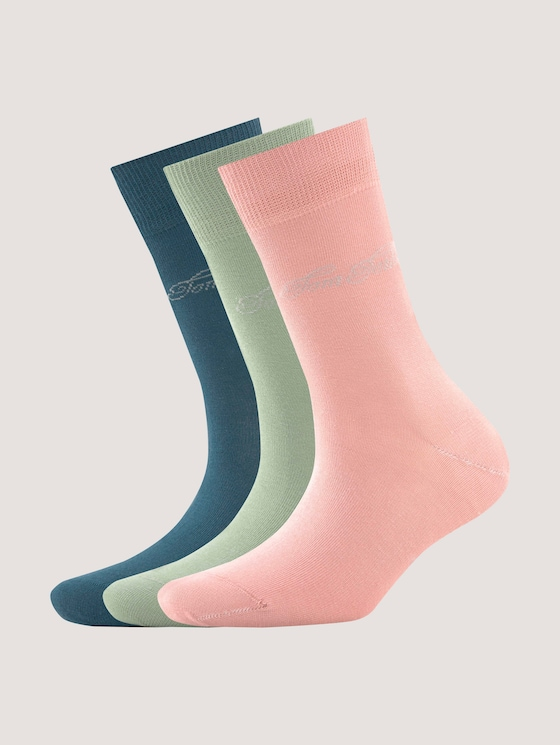 Basic socks in plain colours in a pack of three - Women - shale green - 7 - TOM TAILOR