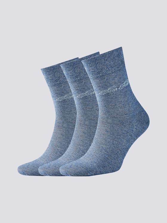 Three-pack basic socks - unisex - light denim melange - 7 - TOM TAILOR