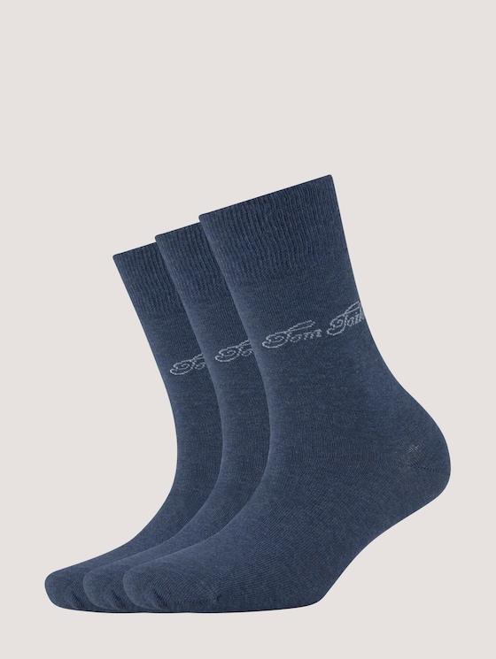 Dreierpack Basic Socken - unisex - indigo melange - 7 - TOM TAILOR