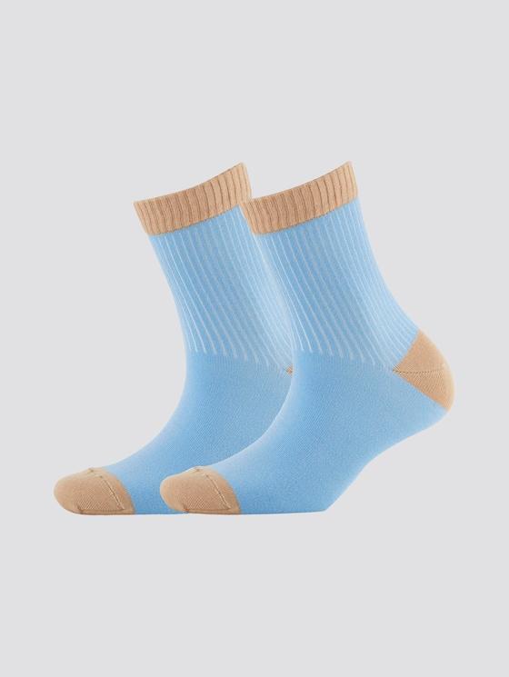 Weiche Socken mit Rippstruktur im Doppelpack - Frauen - azur - 7 - TOM TAILOR