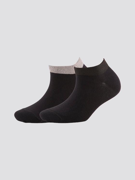 Sneakersocken mit Glitzerbund im Doppelpack - Frauen - black - 7 - TOM TAILOR
