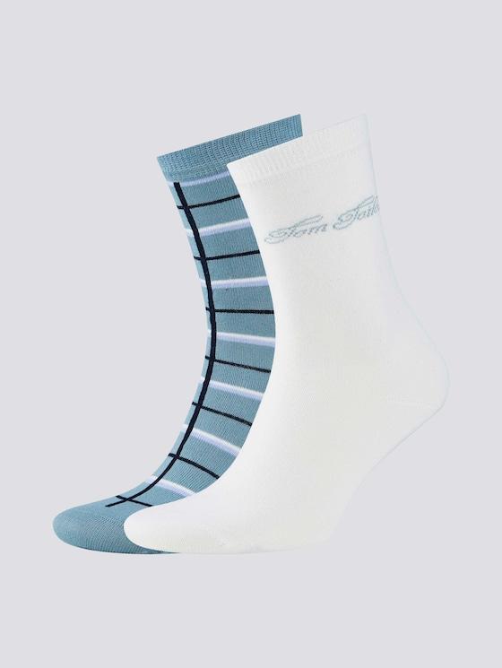 Karierte Socken im Zweierpack - Frauen - off white - 7 - TOM TAILOR