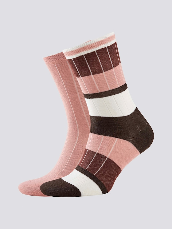 Colour-blocking rib socks in a twin pack - Women - ash rose - 7 - TOM TAILOR