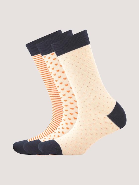 Socks with feminine designs in a pack of three - Women - cream - 7 - TOM TAILOR