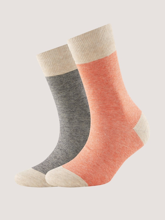 Socks with stripes in a pack of two - Women - dark navy - 7 - TOM TAILOR