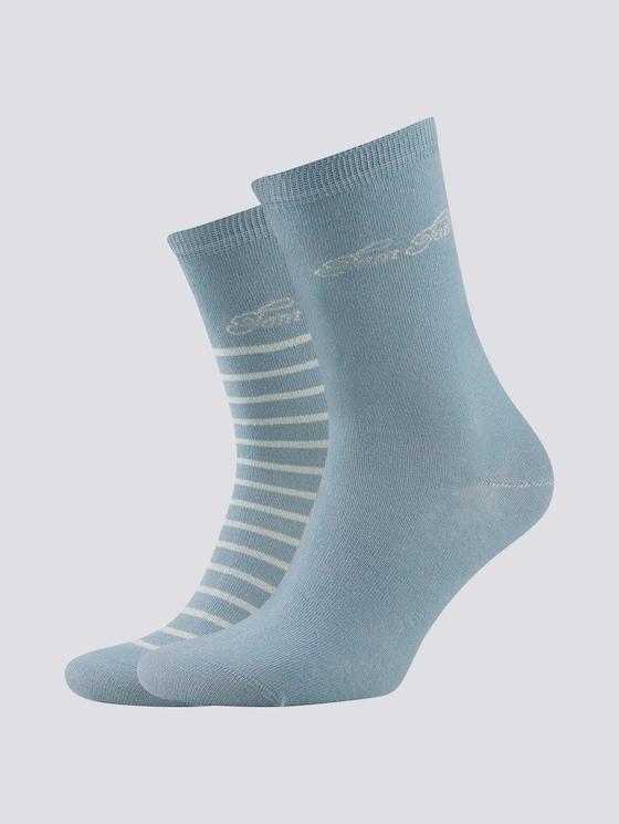 2er Pack Socken mit Logo-Schrift - Frauen - smoke blue - 7 - TOM TAILOR