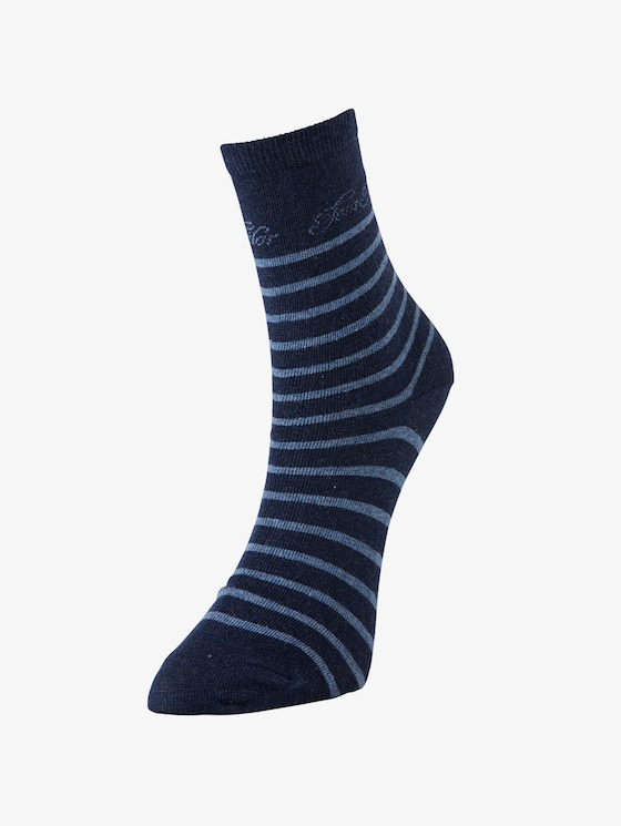 Women's socks twin pack stripes port - Women - indigo melange - 1 - TOM TAILOR