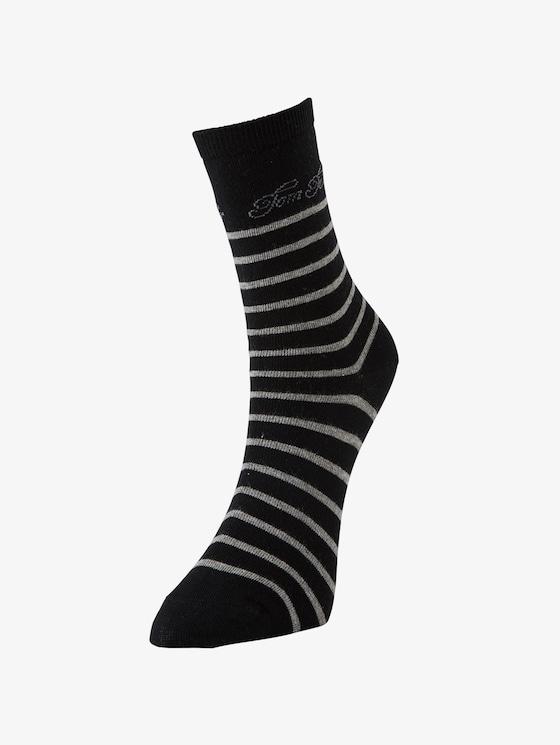 2er Pack Socken mit Logo-Schrift - Frauen - black - 1 - TOM TAILOR