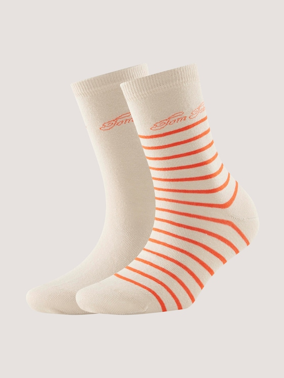 2er Pack Socken mit Logo-Schrift - Frauen - cream - 7 - TOM TAILOR